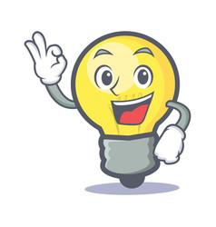 Okay light bulb character cartoon vector