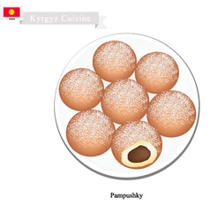 Pampushky or Traditional Kyrgyz Raised Doughnuts vector image