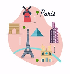 paris travel map and landscape buildings and vector image