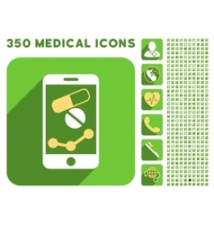 Pharmacy Mobile Chart Icon and Medical Longshadow vector
