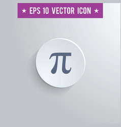 Pi symbol icon on gray shaded background vector