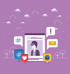 Picture of man in acount with trend set icons vector