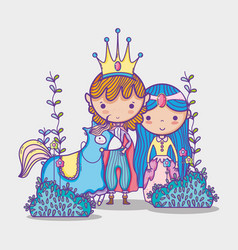 Princesses in magic world cartoon man with vector