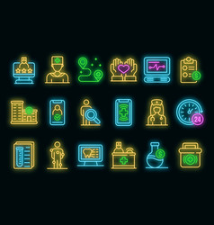 private clinic icons set neon vector image