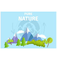 Pure nature with green trees and snowy mountains vector