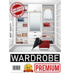 realistic trendy wardrobe room poster vector image