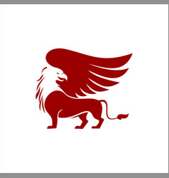 Red griffin winged animal vector