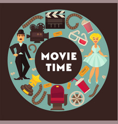 Retro cinema movie time poster flat vector