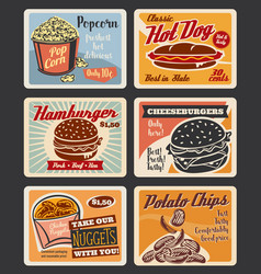 Retro fast food burgers and snacks posters vector