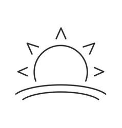 Rising sun linear icon vector