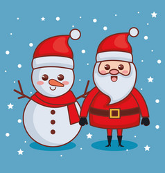 santa claus with snowman characters christmas card vector image