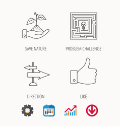 Save nature thumb up and direction icons vector