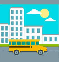 School bus driving school background flat style vector