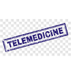 Scratched telemedicine rectangle stamp vector