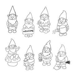 Set garden gnome vector