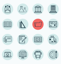 Set of 16 school icons includes chemical taped vector