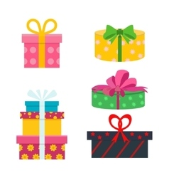 Set of different gift boxes Flat birthday vector