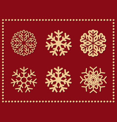 set of isolated icon snowflakes on red vector image