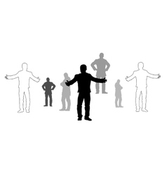 Set of man silhouettes vector image
