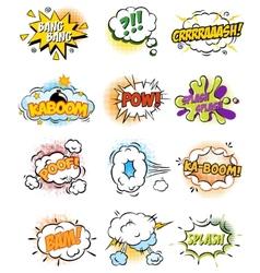 set retro comic book design elements vector image