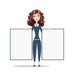 Smiling marketing manager holds big white poster vector