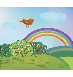 Spring landscape with rainbow and bird vector image