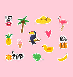 summer stickers collection on pink background vector image