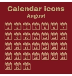 The calendar icon August symbol Flat vector