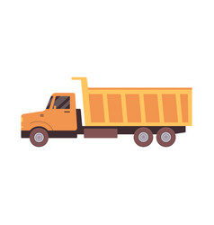 truck or lorry for road and quarry works icon flat vector image