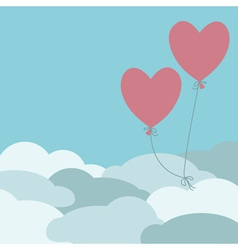 Two red balloons flying above the clouds vector