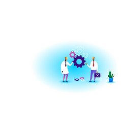 two robots holding cog wheel brainstorming process vector image