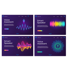voice assistant landing pages web templates for vector image