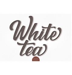 volumetric lettering - white tea hand vector image