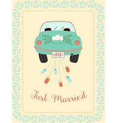 Wedding car with border vector