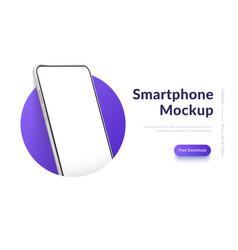 White realistic smartphone mockup in circle vector