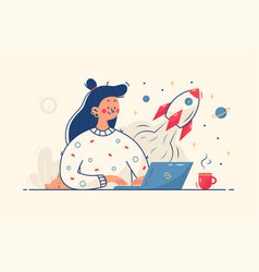 Woman working on startup vector