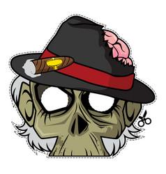 zombie invasion paper mask - mafia boss vector image