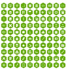 100 calculator icons hexagon green vector image vector image