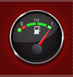 black fuel gauge with chrome frame full tank vector image vector image