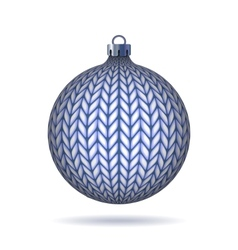 Blue Knitted Christmas Ball vector image vector image