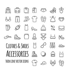 clothes shoes accessories thin line set vector image