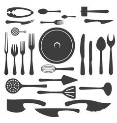 cutlery black silhouettes vector image vector image