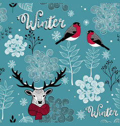 endless background with deer birds and winter vector image