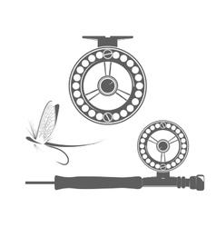 Fishing reel icons vector