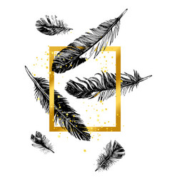 golden frame and hand drawn feathers vector image vector image