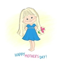 Happy mothers day card with a cute little girl vector image