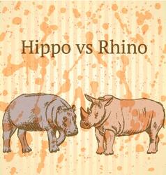 Hippo Rhino vector image vector image