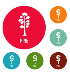 Pine tree icons circle set vector