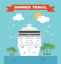 Summer travel flat background with ship vector