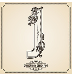 Calligraphic font Letter J vector image vector image